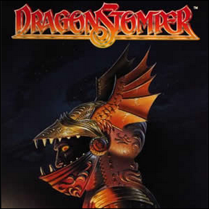 Cover of Dragonstomper with artwork depicting a man in dragon-themed armor.