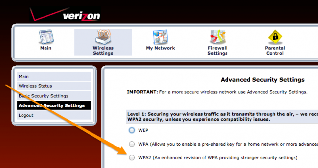 change verizon gateway password