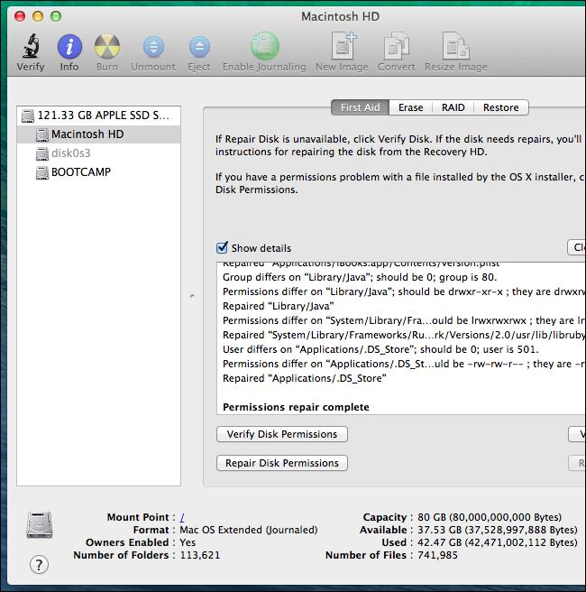 mac disk utility repair permissions