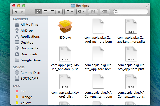mac library receipts folder