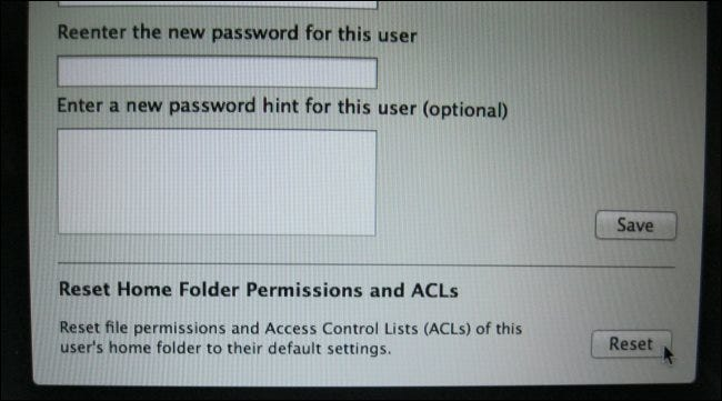 mac reset home folder permissions and acls