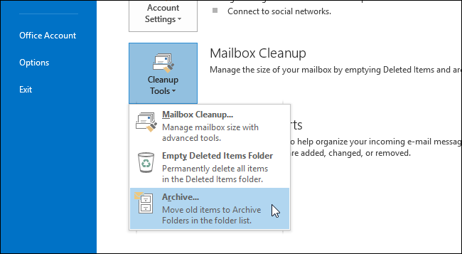 how to find archived emails in outlook 2010