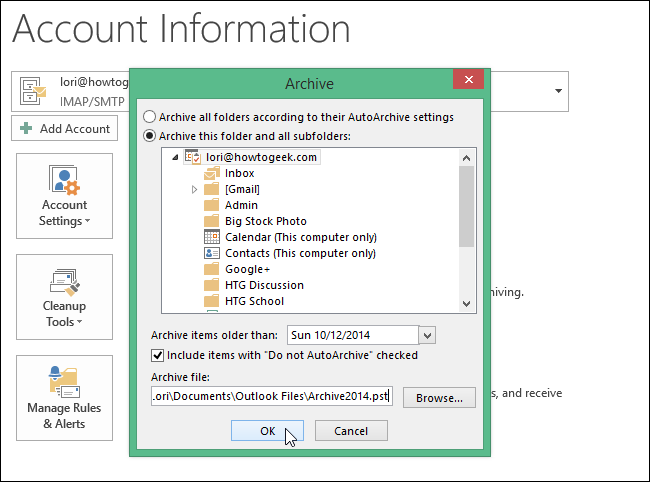 How to Archive Email Messages in Outlook 2013