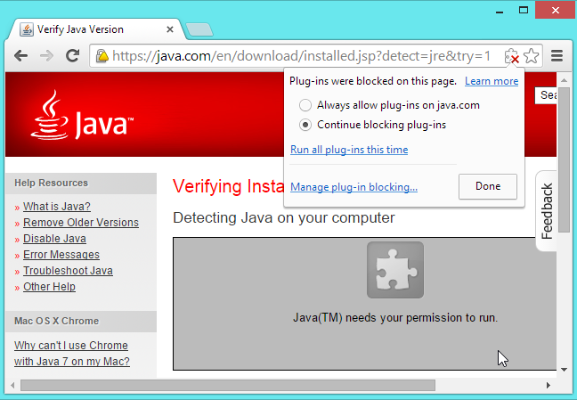 how to allow java on chrome