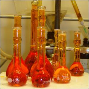 Volumetric flasks of aqua regia.