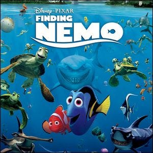 Movie poster for Finding Nemo with Marlin and Dory in the center.