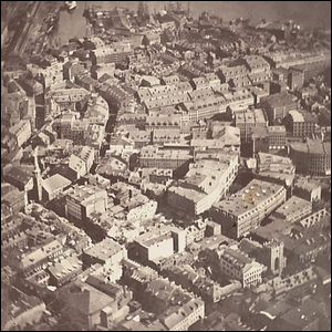James Wallace Black's urban aerial photograph showing a section of Boston in 1860.
