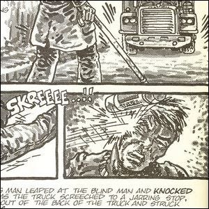 Comic panel showing Matt Murdock and the event that led to the creation of the Ninja Turtles.