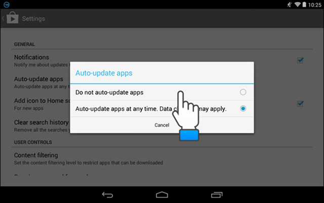 how to cancel automatic updates on android