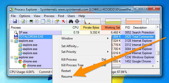 How to Pause or Resume a Windows Application using Process