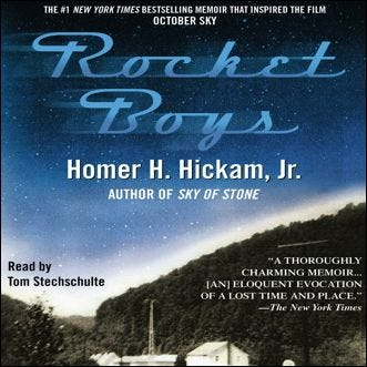 The cover of the Rocket Boys audio book.
