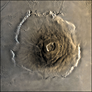 A composite Viking orbiter image of Olympus Mons on Mars.