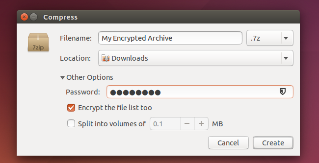 how to zip with password linux