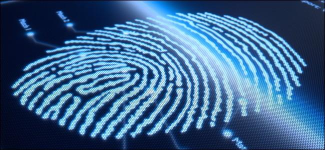 Fingerprint scanning technology on pixellated screen - 3d render