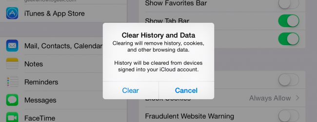 How to clear history cache and cookies in safari on iphone or ipad perhaps this is a good time to point out that you should use private browsing mode if you dont want history being saved on your device ccuart Image collections