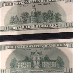 An example of real money compared to the fake money from Rush Hour 2