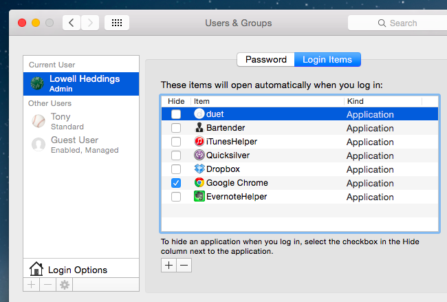 Mac OS X: Change Which Apps Start Automatically at Login