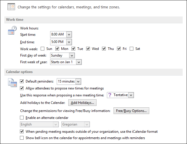 Beginner how to create manage and share calendars in outlook 2013 for example you can change your work hours and work week add holidays change the time zone set the default color and even choose between fahrenheit and thecheapjerseys Gallery
