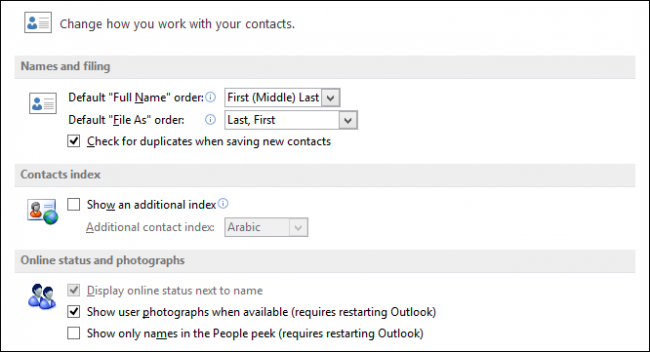 how to find contacts in outlook 2013