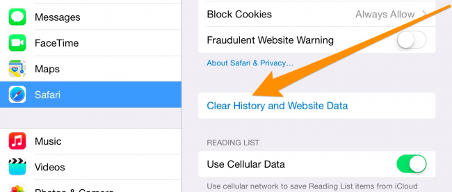 how to clear history cache and cookies in safari on