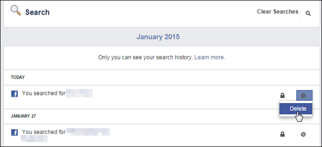 how to delete search history from rp data