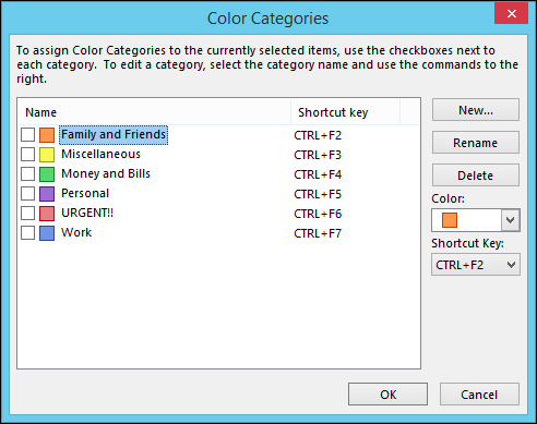 outlook how to change categories