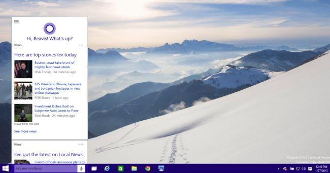 Bing search bar at top of screen windows 10