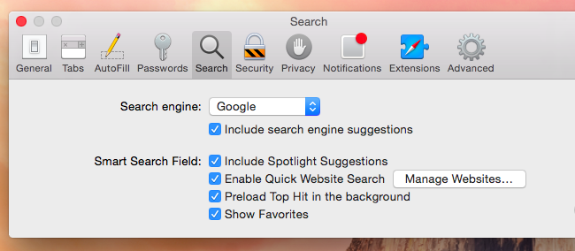 Click the Search icon and select Google (or another search engine you prefer) in the drop-down box.