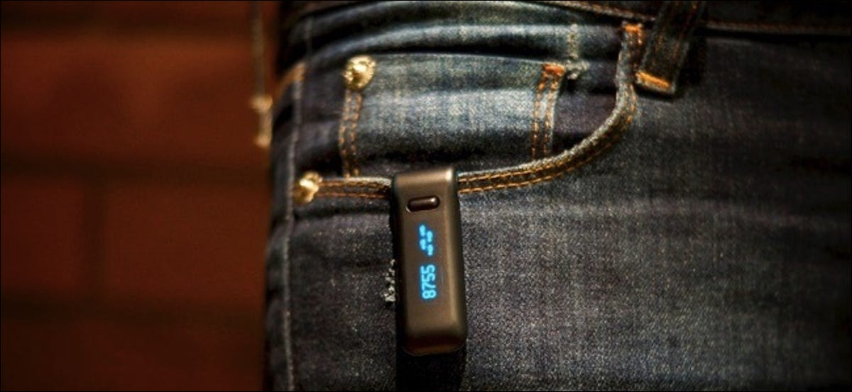 wearable fitbit clipped to jeans