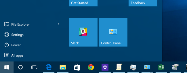 control panel shortcut missing from start menu windows 10