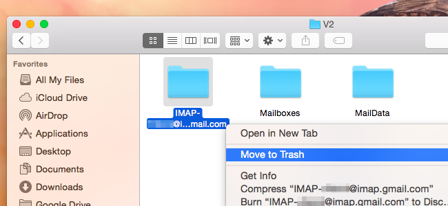 how to delete mail space on mac