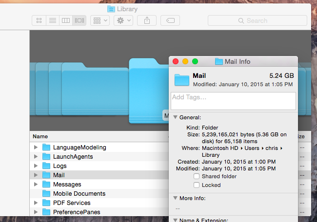 Updating cache directory apple mail