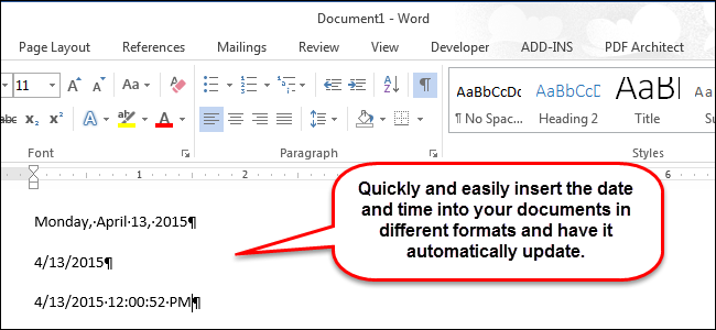 automatic updating date in word