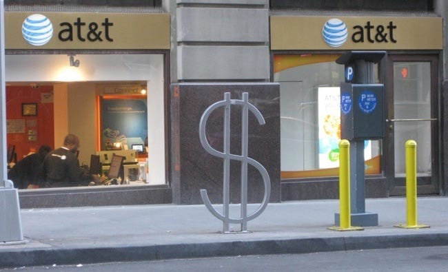 at&t money sign
