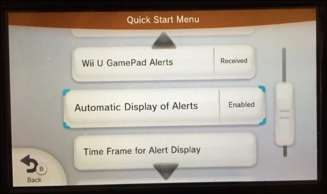 automatic display of alerts option