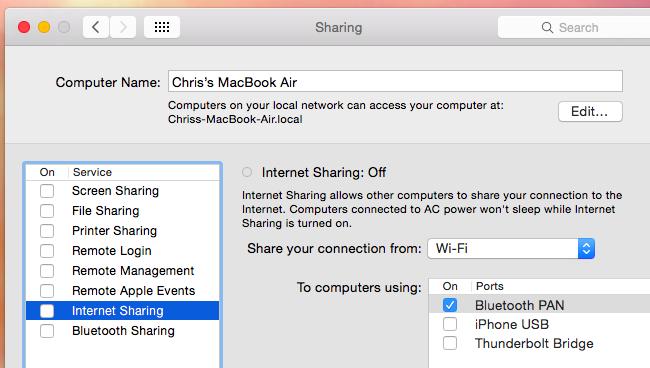 share ethernet connection via wifi mac