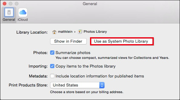 how to change apple photos library location