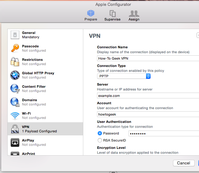 Create a Configuration Profile to Simplify VPN Setup on