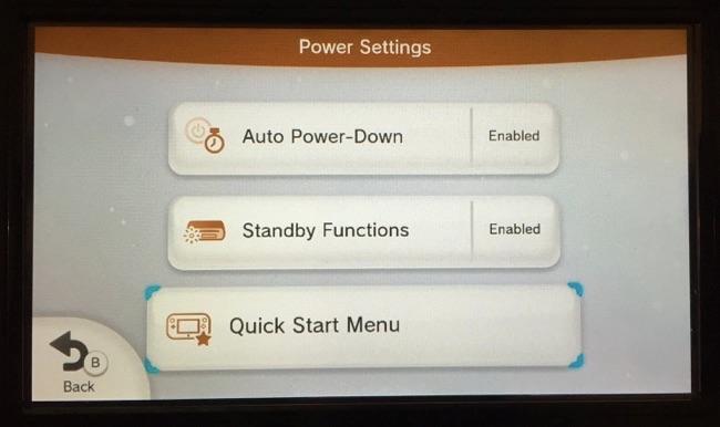 quick start menu settings