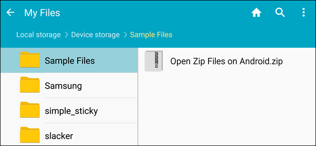 open zip file in android