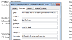 How to Set the Advanced Properties of a Word Document