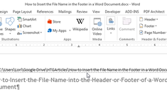 How to Insert the Filename into the Header or Footer of a Word Document