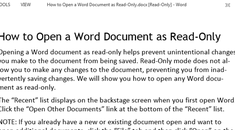 How to Open a Word Document as Read-Only