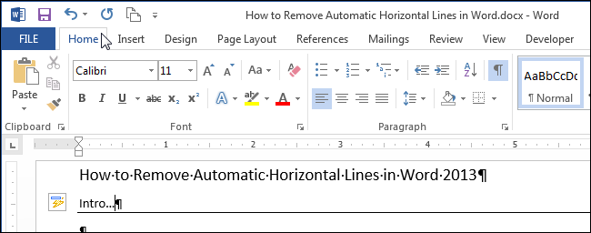 How to remove automatic horizontal lines in word 01clickinghometab ccuart Choice Image