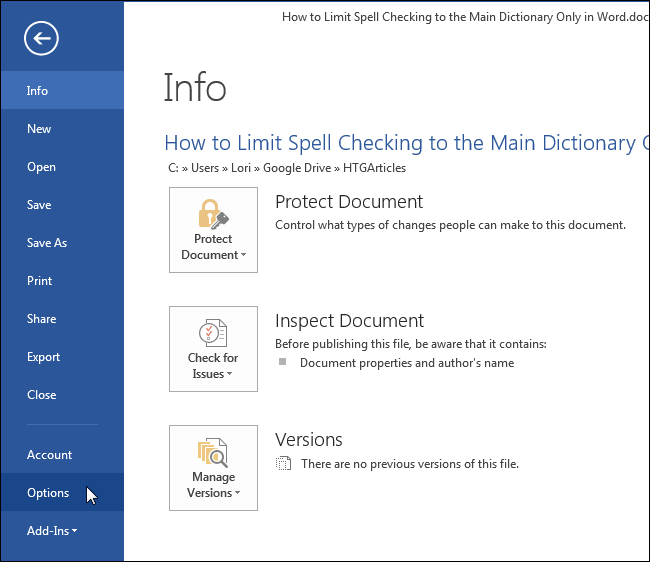 change spelling dictionary in word