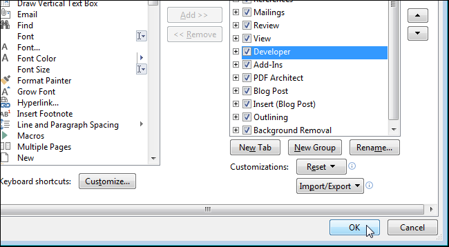 How to Show the Developer Tab on the Ribbon in Office Programs