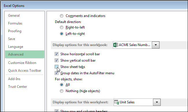 Excel worksheet tabs at top
