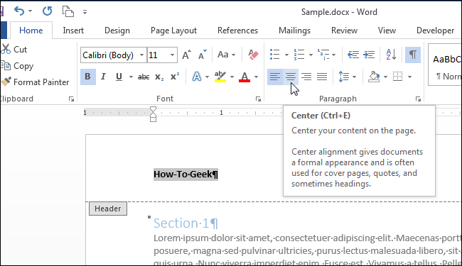 how to make the header darker on word