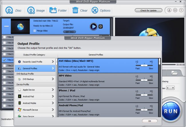 WinX DVD Ripper Platinum Screen