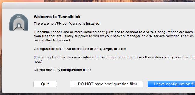 Página de configuração do Tunnelblick